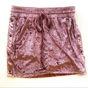 NWT LF BSBW crushed velvet pink mini skirt